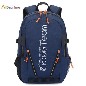 Waterproof Nylon Camping Travel Backpack Blue Premium Leather