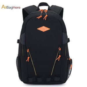 Waterproof Nylon Camping Travel Backpack Black 2 Premium Leather