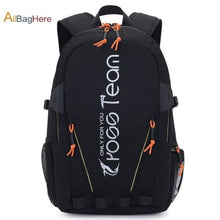 Load image into Gallery viewer, Waterproof Nylon Camping Travel Backpack Black Premium Leather