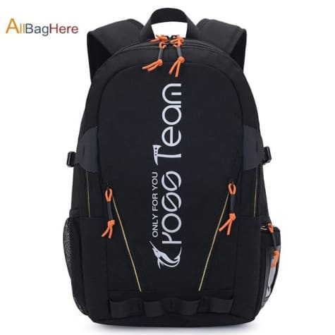 Waterproof Nylon Camping Travel Backpack Black Premium Leather