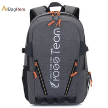 Load image into Gallery viewer, Waterproof Nylon Camping Travel Backpack Gray Premium Leather