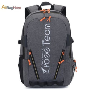 Waterproof Nylon Camping Travel Backpack Gray Premium Leather