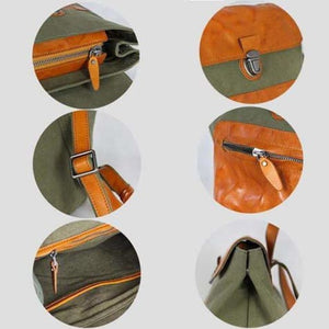 Waxed Leather & Canvas School Bag Travel Backpack