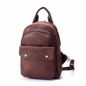 Waxed Leather Travel and College Backpack Brown Premium Leather