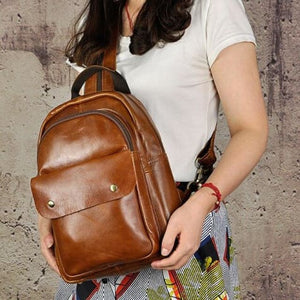 Waxed Leather Travel and College Backpack Vintage Brown Premium Leather