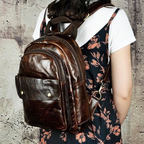 Waxed Leather Travel and College Backpack Dark Coffee Premium Leather