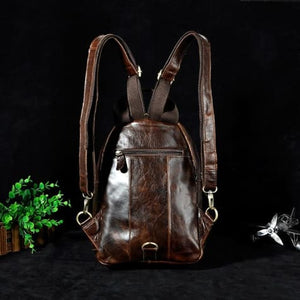 Waxed Leather Travel and College Backpack Premium Leather