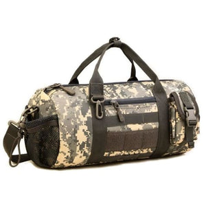 Wear Resistant Ripstop Nylon Cylinder Duffel Bag Acu Premium Leather