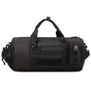 Wear Resistant Ripstop Nylon Cylinder Duffel Bag Black Premium Leather
