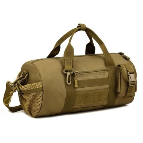 Wear Resistant Ripstop Nylon Cylinder Duffel Bag Khaki Premium Leather