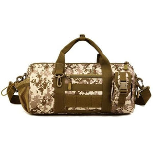 Wear Resistant Ripstop Nylon Cylinder Duffel Bag Desert Digital Premium Leather