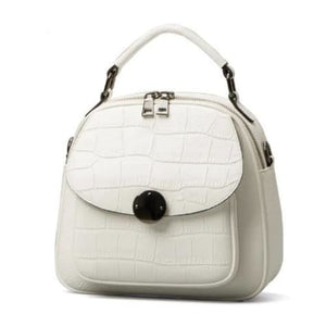 White Classic Leather Backpack/ Shoulder Bag Premium Leather