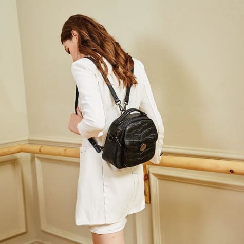 White Classic Leather Backpack/ Shoulder Bag