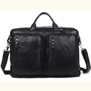 Willow Multi-function full Grain Leather Travel Bag Black Size Xl Premium Leather