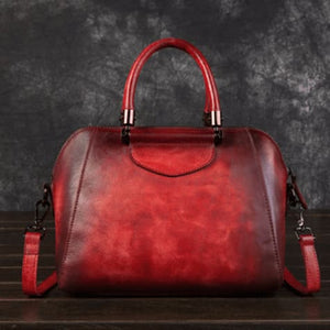 Woman's Leather Vintage Valise Red Premium Leather