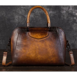 Woman's Leather Vintage Valise Brown Premium Leather