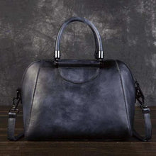 Load image into Gallery viewer, Woman's Leather Vintage Valise Black Premium Leather