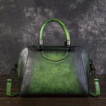 Load image into Gallery viewer, Woman's Leather Vintage Valise Green Premium Leather