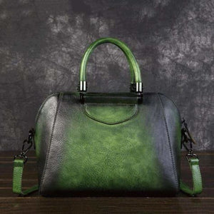 Woman's Leather Vintage Valise Green Premium Leather