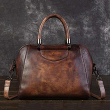 Load image into Gallery viewer, Woman's Leather Vintage Valise Coffee Premium Leather
