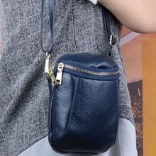 Load image into Gallery viewer, Women's Authentic Leather Crossbody Hip Bag Blue Premium Leather