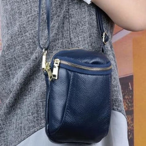 Women's Authentic Leather Crossbody Hip Bag Blue Premium Leather