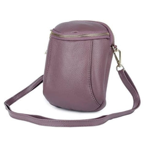 Women's Authentic Leather Crossbody Hip Bag Purple Premium Leather