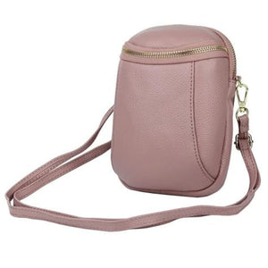 Women's Authentic Leather Crossbody Hip Bag Pink Premium Leather