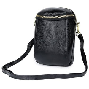 Women's Authentic Leather Crossbody Hip Bag Black Premium Leather