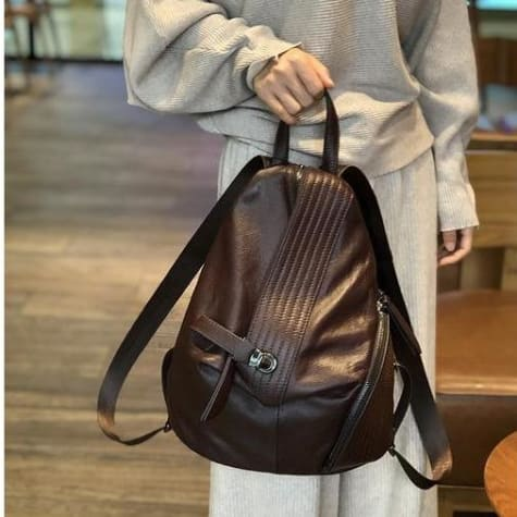 Women's Black/brown Leather Backpack Laptop Bag Brown Premium Leather