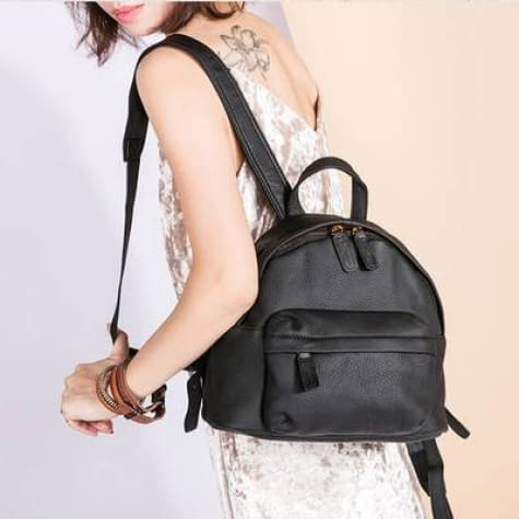 Women's Designer Leather Backpack & Crossbody Bag Black Premium Leather
