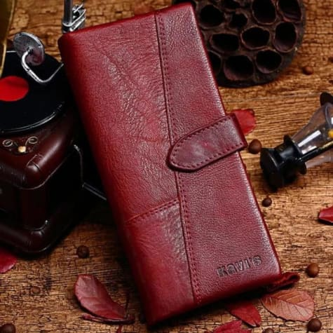 Women's Leather Long Wallet Coin Purse Red Premium Leather