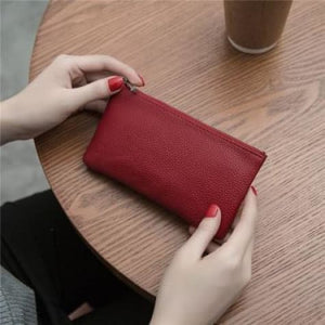Women's Leather Simple thin Zipper Wallet Dark Red Premium Leather