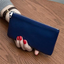 Load image into Gallery viewer, Women's Leather Simple thin Zipper Wallet Royal Blue Premium Leather