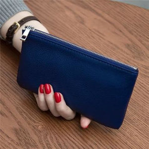 Women's Leather Simple thin Zipper Wallet Royal Blue Premium Leather