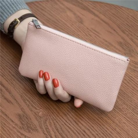 Women's Leather Simple thin Zipper Wallet Pink Premium Leather