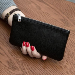 Women's Leather Simple thin Zipper Wallet Black Premium Leather