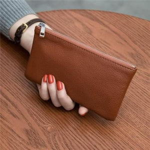 Women's Leather Simple thin Zipper Wallet Brown Premium Leather