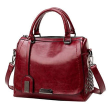 Load image into Gallery viewer, Women's Leather Solid Rivet Crossbody Handbag Wine Premium Leather