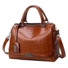 Load image into Gallery viewer, Women's Leather Solid Rivet Crossbody Handbag Premium Leather