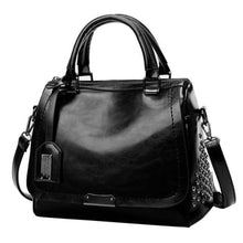 Load image into Gallery viewer, Women's Leather Solid Rivet Crossbody Handbag Black Premium Leather