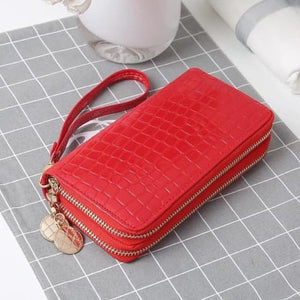 Women's Luxury Leather Double Zip Wrist Wallet/clutch Red Premium Leather