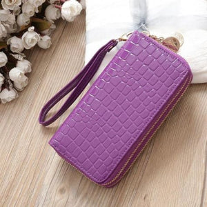 Women's Luxury Leather Double Zip Wrist Wallet/clutch Purple Premium Leather