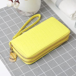 Women's Luxury Leather Double Zip Wrist Wallet/clutch Yellow Premium Leather