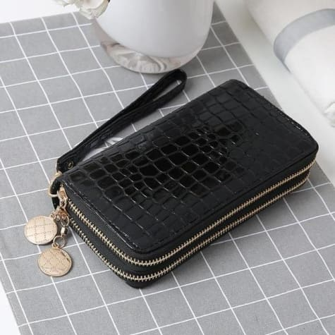 Women's Luxury Leather Double Zip Wrist Wallet/clutch Black Premium Leather