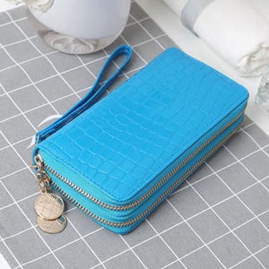 Women's Luxury Leather Double Zip Wrist Wallet/clutch Blue Premium Leather