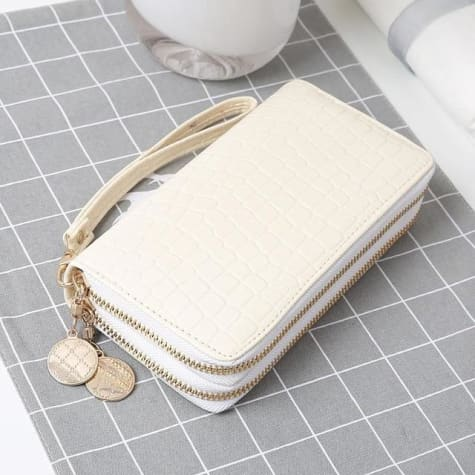 Women's Luxury Leather Double Zip Wrist Wallet/clutch White Premium Leather
