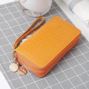 Women's Luxury Leather Double Zip Wrist Wallet/clutch Orange Premium Leather