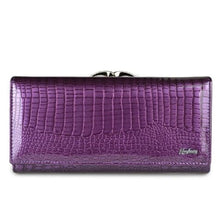 Load image into Gallery viewer, Women's Luxury Patent Leather Clutch Purse Purple Premium Leather