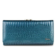 Load image into Gallery viewer, Women's Luxury Patent Leather Clutch Purse Light Blue Premium Leather